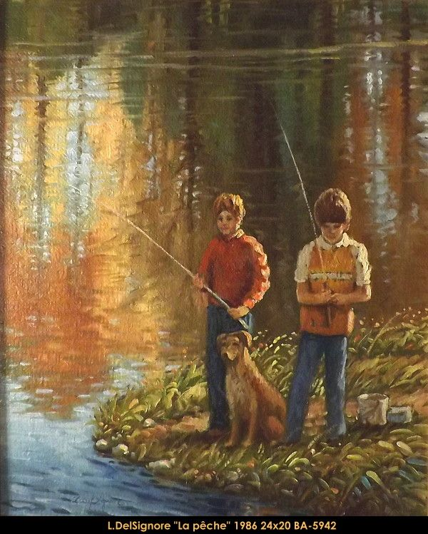 Original oil painting on canevas by Littorio Del Signore #Littoriodelsignore #artist #canadianartist #quebecartist #art #fineart #figurativeart #originalpainting #oilpainting #summerscene #twokids #dog #fishing #balcondart #multiart