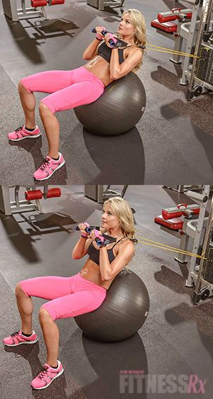 Stability Ball Crunches with Band - Amp up your core training