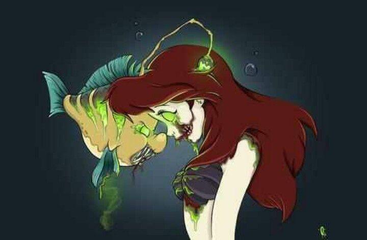 Zombie Princess Coloring Pages : Zombie ariel and flounder nerd stuff pinterest