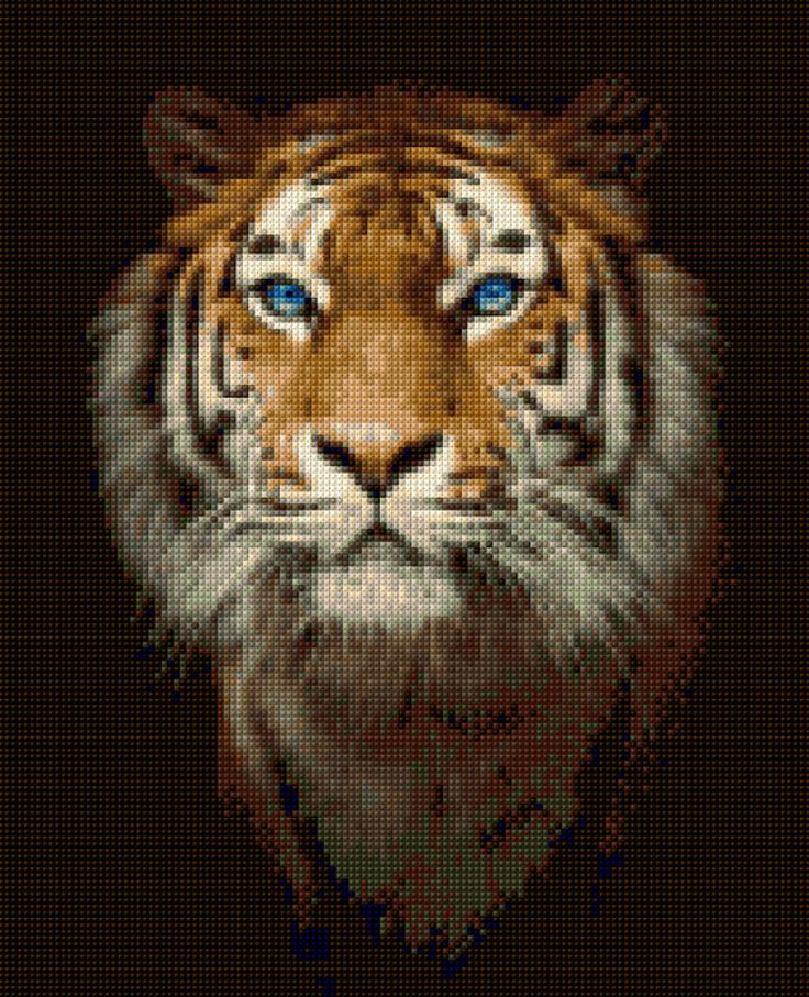 Tiger Cross Stitch portrait PDF-EASY chart with one color per sheet And traditional chart! Two charts in one! by HeritageChart on Etsy