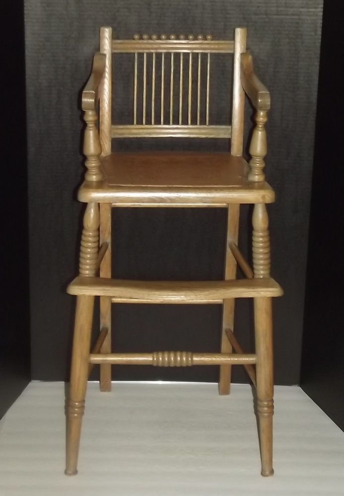 Antique Childu0027s Oak Wooden High Chair With Leather Seat