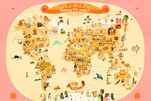 Mapas coloridos com desenhos lindos da ilustradora Francesa Julie Mercier. Um jeito lúdico de aprender geografia. Para comprar clique aqui.