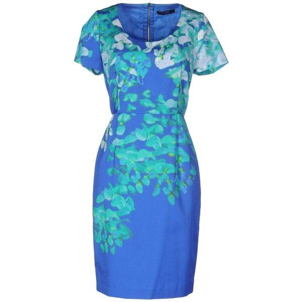 Blue Les Copains Short Dress (425 BAM) ❤ liked on Polyvore featuring dresses, blue, short sleeve cotton dress, short tube dress, mini tube dress, short-sleeve dresses and blue cotton dress