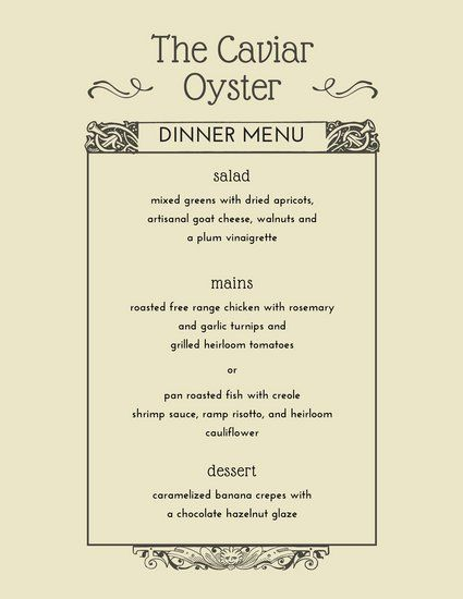 Brown Elegant Dinner Menu