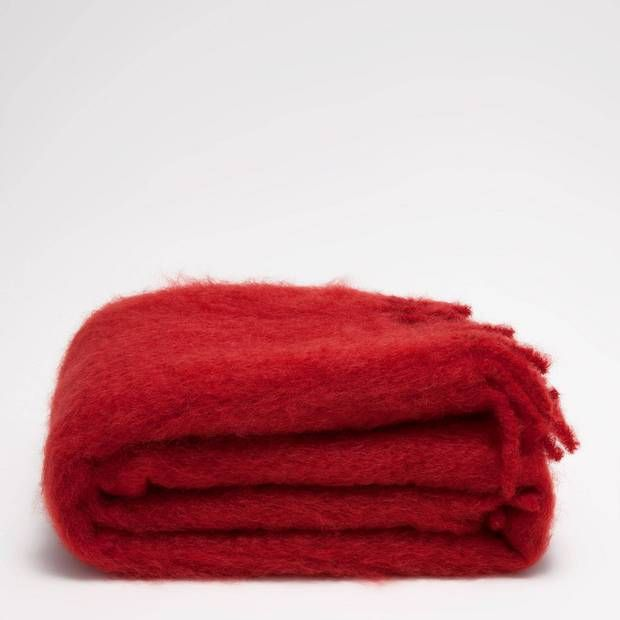 Red Mohair Throw with Fringe.