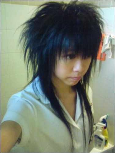 "Extreme Asian Mullet reference haircut pic :D This is NOT a mullet! This is anime style hair, what is in America, called ""scene"" hair styles, or ""emo"" hair. It reminds me of rock hair styles in the 90's!-Nicole S."
