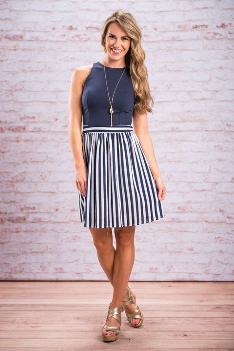 Keep Loving You Dress, Navy - The Mint Julep Boutique