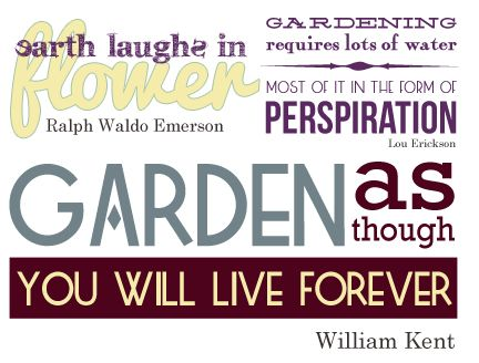 Quotations and Word Art for Scrapbooking Gardening