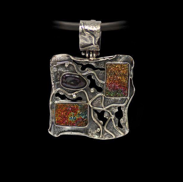 RAINBOW DRUZY Pendant, Artisan Pendant, Black Pearl Pendant,  Sterling Silver 925, Handcrafted Jewelry, handmade pendant. by AlenaZenaJewelry on Etsy