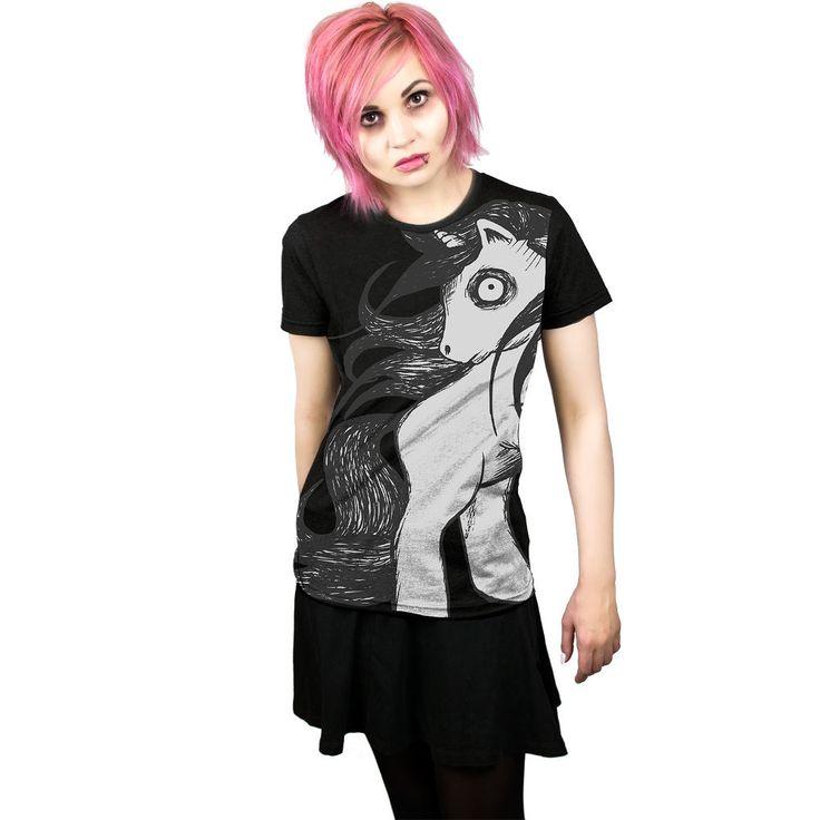 Cosmic Lonley pony, eenhoorn T-shirt zwart | Attitude Holland