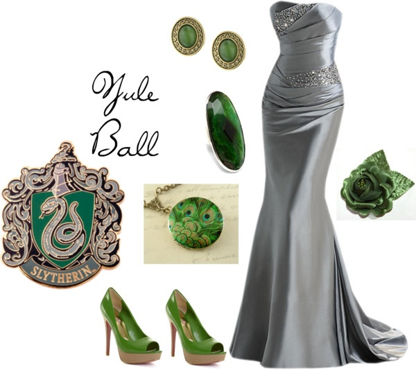 Slytherin-Yule Ball, created by brebre267 on Polyvore. Hate Slytherin, but I love this outfit!