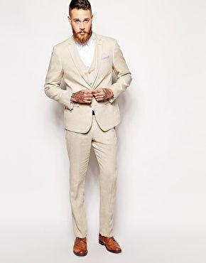 Agrandir ASOS - Costume cintré 100% lin - Taupe