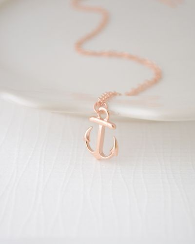 Rose Gold Anchor Necklace.