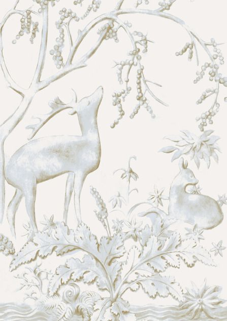 Sika wide width wallpaper in Eucalyptus colourway. Part of our #EnglishEthnic collection.