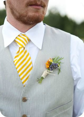 Yellow Striped Groom Suit - Emily Steffen Photography