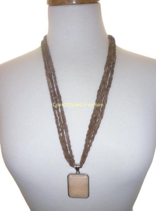 Hand Crochet Ooak Trellis Necklace Natural Orange Jasper