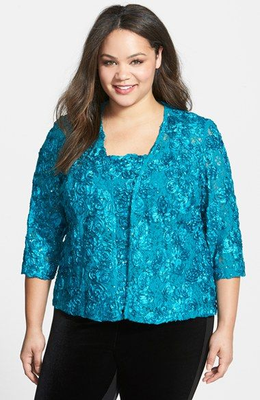 Alex Evenings Rosette Twinset (Plus Size) available at #Nordstrom