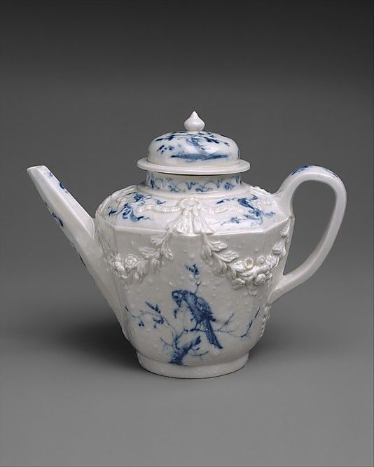 Teapot Vezzi Factory (1720–27) Date: 1720–27 Culture: Italian, Venice Medium: Hard-paste porcelain Dimensions: H. with cover: 5 3/4 in. (14.6 cm.) Gr. W.: 7 1/16 in. (7.9 cm.) Classification: Ceramics-Porcelain Credit Line: Purchase, Friends of European Sculpture and Decorative Arts Gifts,1999
