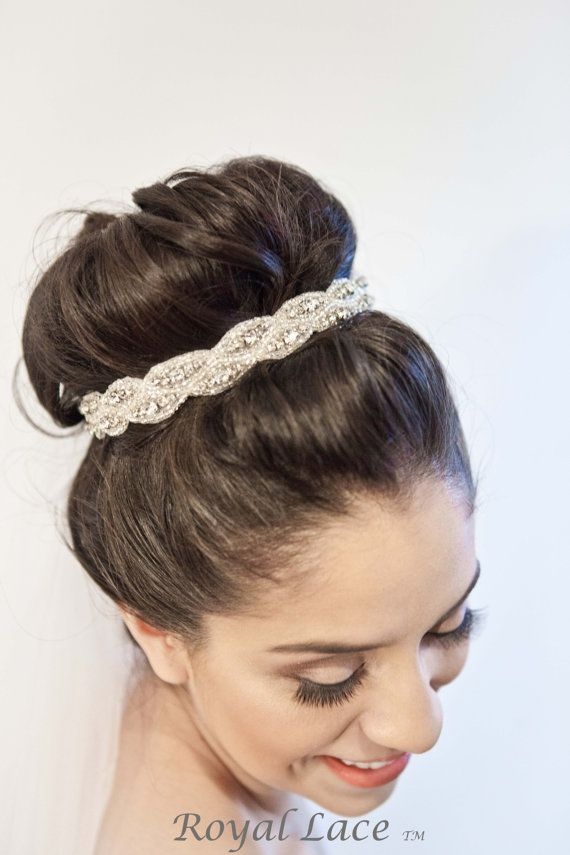 Wedding headband, wedding hair accessory, crystals, beads, headband, hair bun, bridal, ribbon, bride, hairbun- CAPTIVE