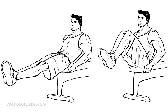 Seated Bench Leg Pull-Ins / Flat Bench Knee-ups