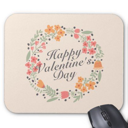 #Elegant Valentine's Day Floral Wreath Mousepad - #floral #gifts #flower #flowers