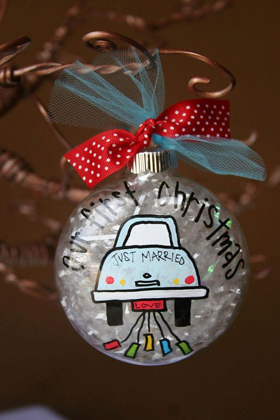 "PIN NOW TO FIND LATER! Custom Hand Painted cute 4 Glass ornament Our by WhatchawantDesign ""Just Married!"""