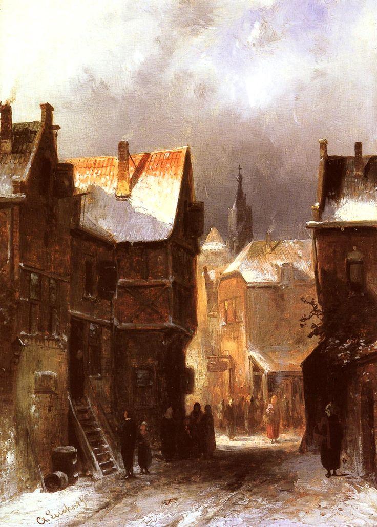 Leickert Charles_Henri Joseph A Dutch Town in Winter