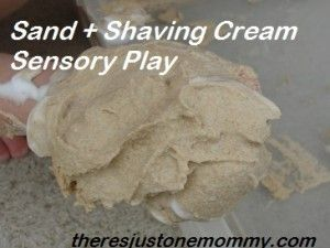 Sensory play with sand and shaving cream.