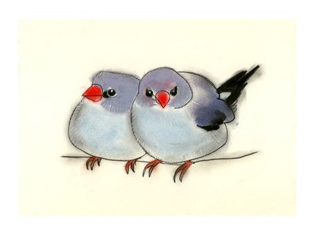 "Adorable!  Blue Bird art - Two Friends  6"" X 4"" bird print of watercolor painting. $6.50 USD, via Etsy."