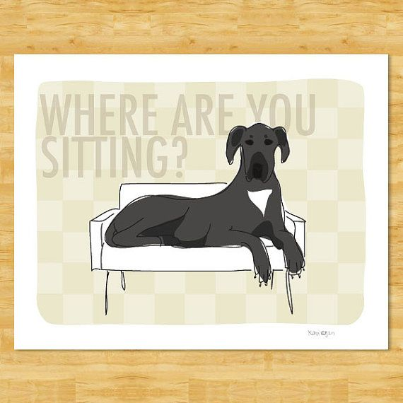 Great Dane Art Print - Where Are You Sitting - Black Great Dane Gifts Funny Dog Art Free Shipping on Etsy, $12.49