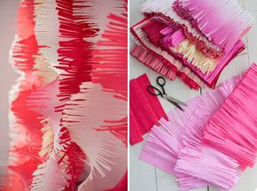 big-fringe crepe paper DIY - for photo booth or party backdrop - from OH HAPPY DAY.  Ordered the paper in 3 different colors made one so far and it does not disappoint, can't wait to show it at Nesting Place