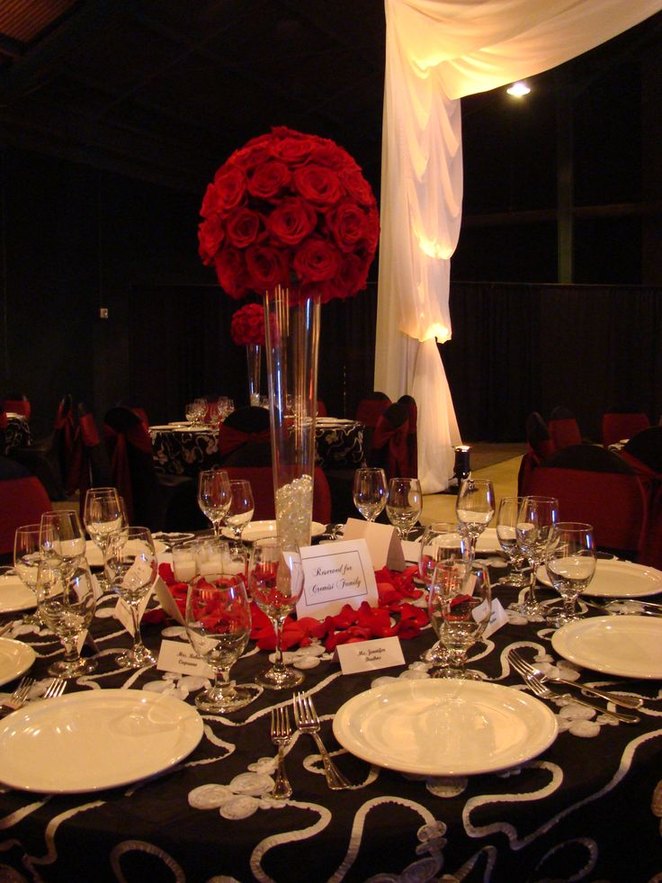 Red rose topiary centerpiece by creationsbydebbie