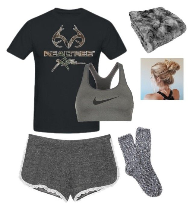 """Bedtime"" by mud-lovin-redneck ❤ liked on Polyvore featuring Realtree, NIKE, Victoria's Secret and Free Press"