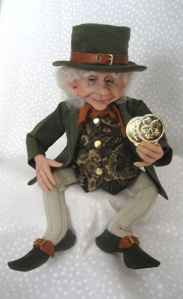 REAL-LIFE Leprechaun w/ Gold Coins~ Terry Richards ~ One-of-a-Kind Art Doll
