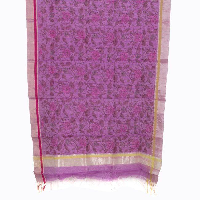 Marm Handprinted Chanderi Silk Cotton Dupatta 10000364 - AVISHYA.COM