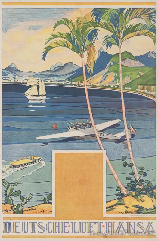 GERMANY - Vintage travel poster - Lufthansa