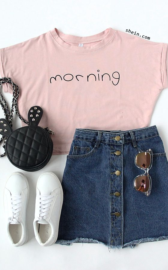Back to school! How to wear for my new school days! Shein take new fashion in 2016 fall/winter for you! Pink Letters Print Cuffed Crop Top +denim short+flat sneaker. Simple look and fashion with a bomber coat. Check more at shein!