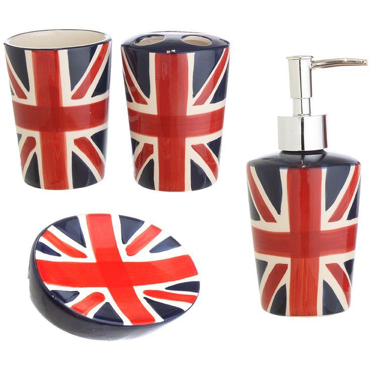 Union jack bathroom accessories bathroom ideas pinterest bathroom accessories and london - Bathroom accessories london ...