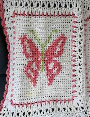 "Design By: Maggie Weldon Skill Level: Intermediate Size: 40"" x 56"" Materials: Worsted Weight Yarn - White – 30 oz, 1125 yds(840 grams, 1012 meters); Pink – 10 oz, 370 yds(280 grams, 333 meters); Green"