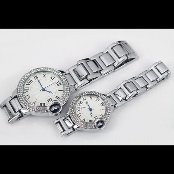 HIS & HERS FAMOUS  BRAND NAME WATCH BRAND NEW HIS & HERS BRAND NAME WATCH IN STAINLESS STEEL WITH SIMULATED DIAMONDS. SIMILAR AS THE ORIGINAL. PRICE IS PER PIECE Cartier Accessories Watches