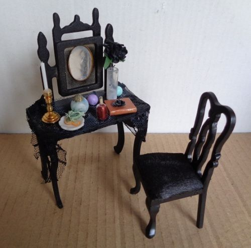 Gothic-Witches-Dolls-House-Dressing-Table-Mirror-amp-Chair-Set-12th-Scale-Handmade