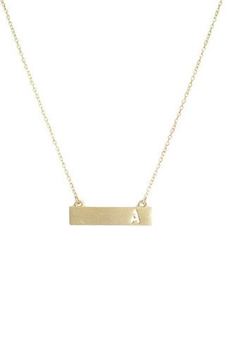 "Bar Letter Necklace Styles: A, B, C, D, E, F, G, H, I, J, K, L, M, N, O, P, Q, R, S, T, U, V, W, X, Y, Z Description: 18"" gold metal chain with 1 3/8"" x 3/8"" ba"