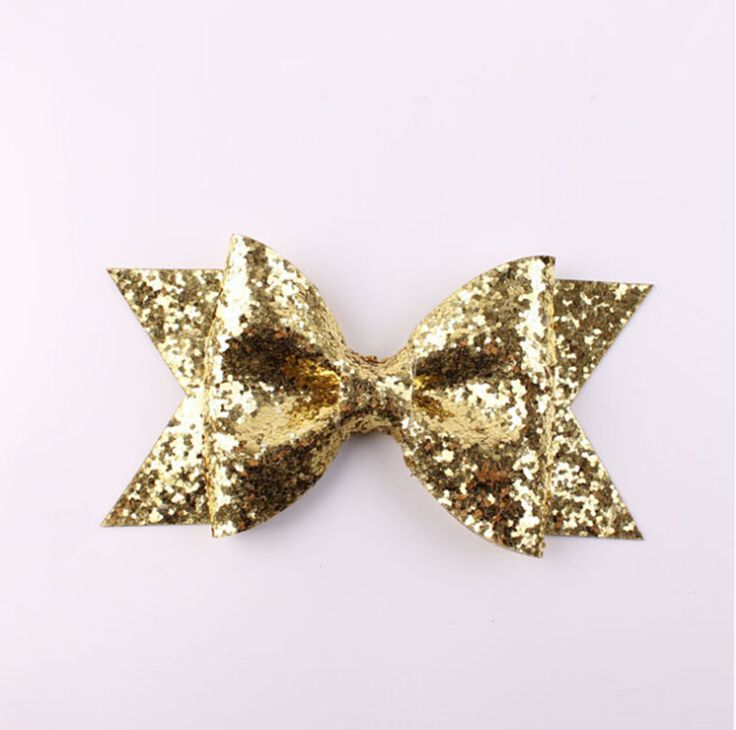 Gold Glitter Bow Hair Clip