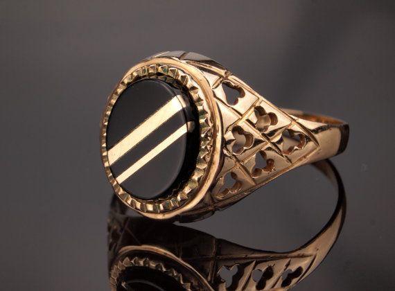 Mens Onyx Ring - Vintage Solid Gold Ring for Men
