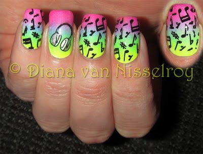Bright neon gradient music nails