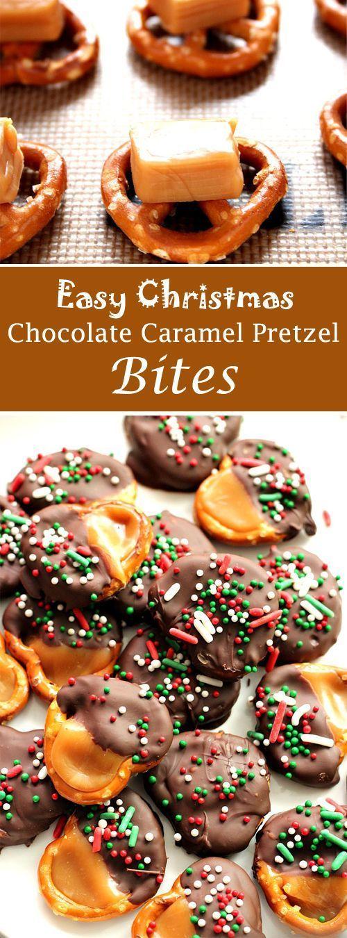 Easy Christmas Chocolate Caramel Pretzel Bites Recipe #Pretzel #ChristmasRecipe #EasyRecipes