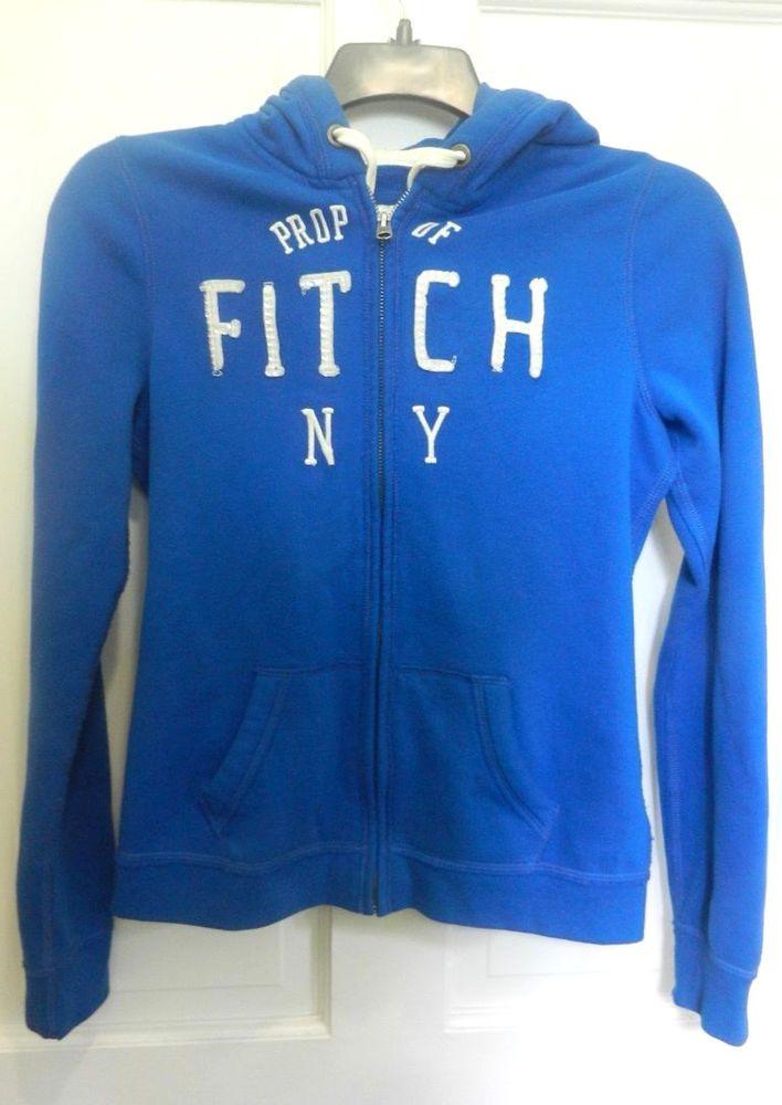 Abercrombie and Fitch Blue Zip Front Hoodie Sweatshirt Womens Medium Adult N.Y. #AbercrombieFitch #Hoodie