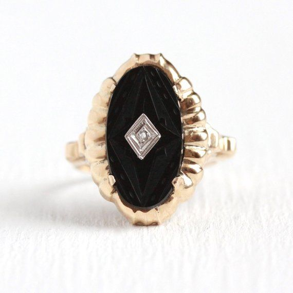 Sale Vintage Onyx Ring Art Deco 10k Rosy Yellow Gold Carved Black Gem Diamond Statement 1930 Vintage Onyx Ring Black Onyx Jewelry Antique Rings Vintage