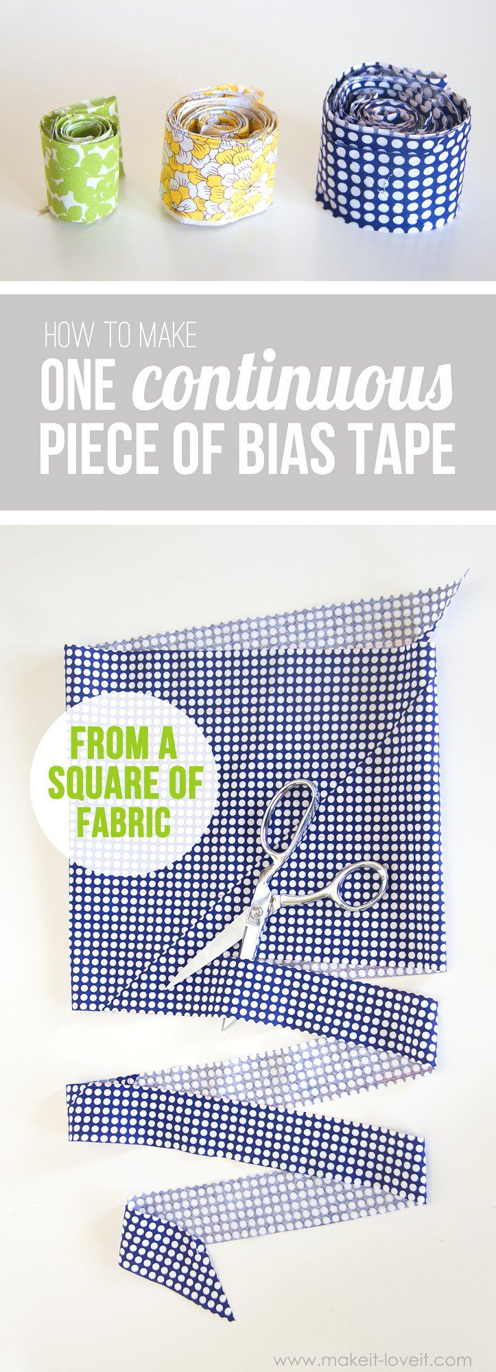 Cut a CONTINUOUS strip of BIAS TAPE (from one square of fabric)   Ooooh, today I have a sewing tip for you……and it's pretty darn cool! Also, it'll save you some money (less fabric waste) and make your