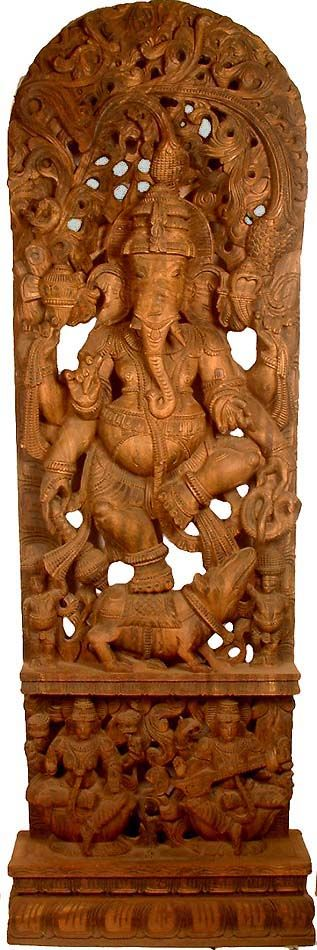 Shri Ganesh - Lord of Auspices Ganesha with Lakshmi and Saraswati